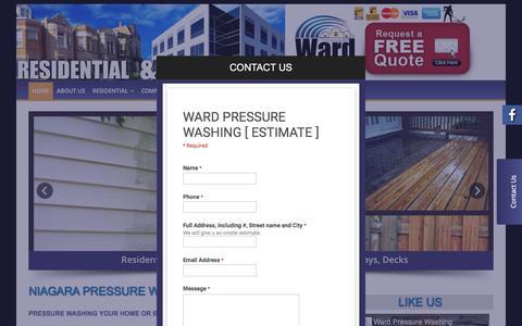 Screenshot of Home Page wardpressurewashing.com - Wardpressure Washing - Niagara Pressure Washing / Power Washing - captured Dec. 12, 2016