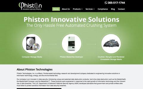 Screenshot of Home Page phiston.com - Data Destruction | Hard Drive Destroyer | Hard Drive Crusher | Phiston Technologies - captured Nov. 6, 2016