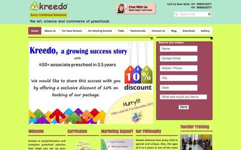Screenshot of Home Page kreedology.com - Kreedo|Start a preschool| Non Franchise Preschool|Preschool Curriculum - captured Jan. 9, 2016
