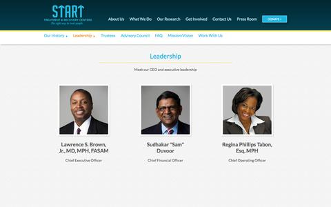 Screenshot of Team Page startny.org - Leadership Team | START Treatment & Recovery Centers - captured Oct. 3, 2014