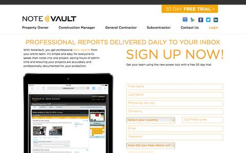 Screenshot of Trial Page notevault.com - 30 Day Free Trial - NoteVault - captured Nov. 5, 2014