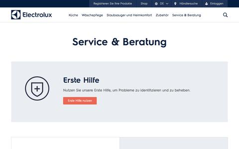 Screenshot of Support Page electrolux.ch - Service & Beratung | Electrolux - captured Nov. 4, 2016