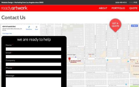 Screenshot of Contact Page readyartwork.com - Contact Us   Ready Artwork - Websites, Design & Marketing - captured Oct. 15, 2016