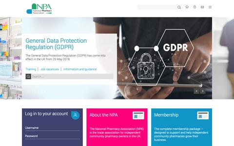 Screenshot of Home Page npa.co.uk - The National Pharmacy Association (NPA) » NPA - captured Oct. 18, 2018