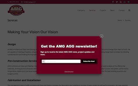Screenshot of Services Page amgagg.com - Services - captured Feb. 4, 2016