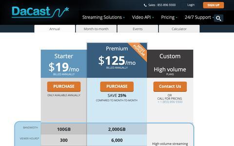 Screenshot of Pricing Page dacast.com - Live Streaming Platform Plans & Pay As You Go Pricing - DaCast - captured Nov. 12, 2018