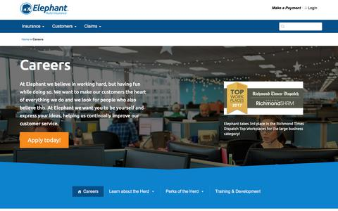 Screenshot of Jobs Page elephant.com - Careers at Elephant Auto Insurance - captured July 26, 2017
