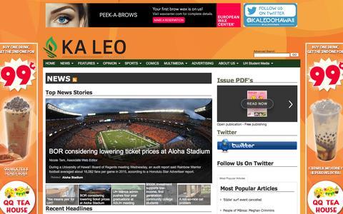 Screenshot of Press Page kaleo.org - Ka Leo O Hawaii: NEWS - captured Feb. 12, 2016
