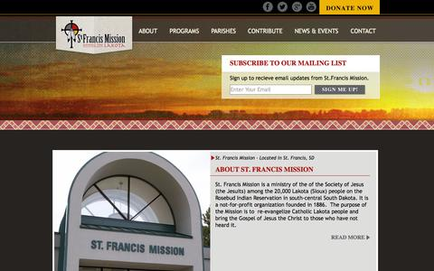 Screenshot of Home Page sfmission.org - St. Francis Mission - captured Oct. 7, 2014