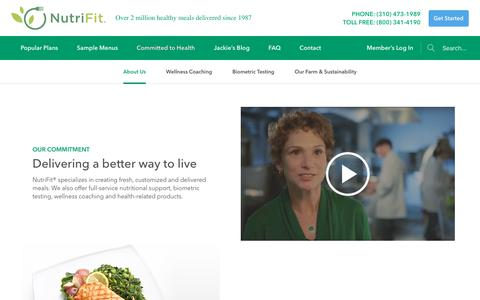 Screenshot of About Page nutrifitonline.com - About NutriFit Diet Food Delivery - captured Jan. 25, 2018