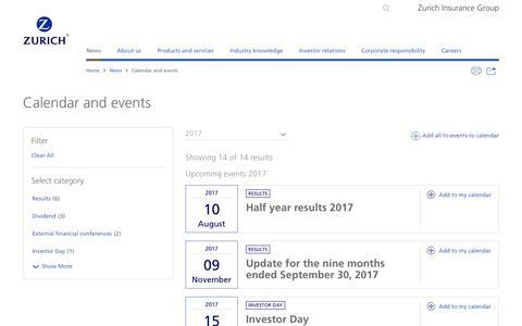 Zurich media calendar and events | Zurich Insurance