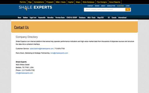 Screenshot of Contact Page shaleexperts.com - Contact Us - captured Oct. 20, 2018