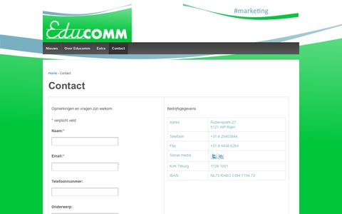 Screenshot of Contact Page educomm.nl - Contact – Educomm - captured July 18, 2017