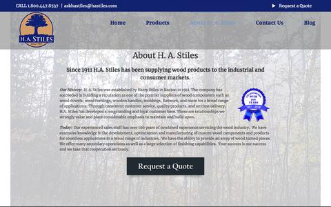 Screenshot of About Page hastiles.com - About H. A. Stiles Company Wood Turnings | H. A. Stiles Company - captured July 14, 2018