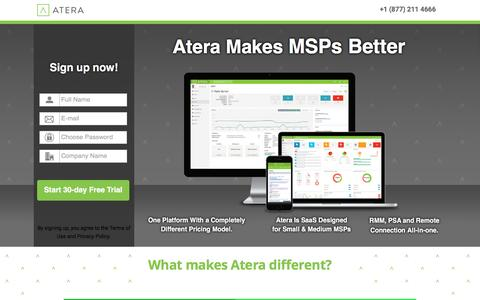 Screenshot of Landing Page atera.com - Atera - A Different kind of MSP sofware - captured June 13, 2016