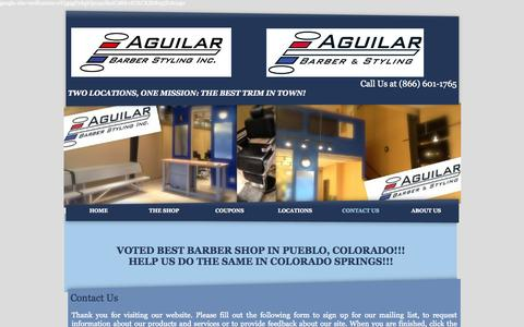 Screenshot of Contact Page aguilarbarberstyling.com - Barber & Beauty Services, Flat Tops, Fades, Shaves & More - captured Oct. 4, 2014