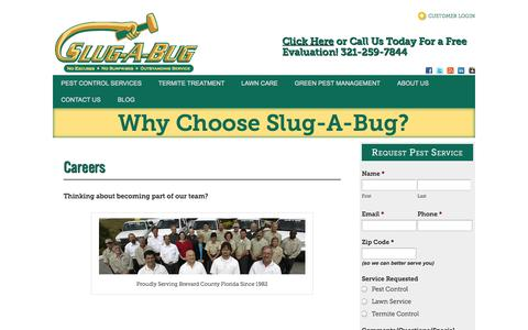 Screenshot of Jobs Page slugabug.com - Careers – Slug-A-Bug Pest Control Services-Melbourne, Florida - captured Oct. 7, 2014