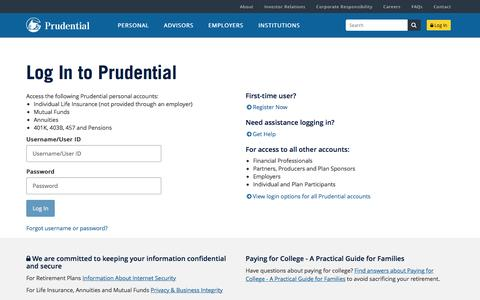 Log In | Prudential Financial