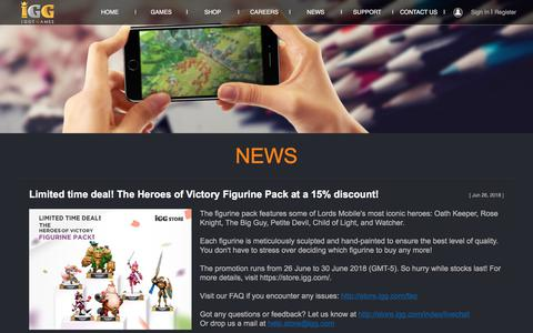 Screenshot of Press Page igg.com - News - I GOT GAMES - Global Free Online Games Portal - captured July 13, 2018