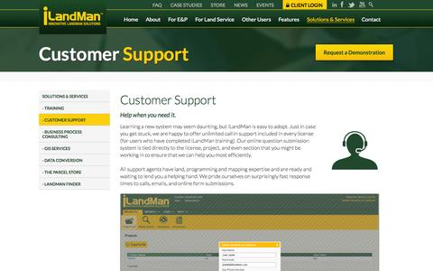 Screenshot of Support Page ilandman.com - Our Customer Support Team is Ready and Waiting to Help - captured Sept. 30, 2014