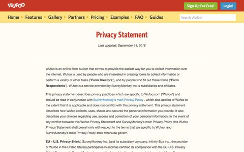 Screenshot of Privacy Page wufoo.com - Privacy Statement | Wufoo - captured Feb. 4, 2017
