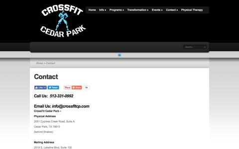 Screenshot of Contact Page Locations Page crossfitcp.com - Contact  | CrossFit Cedar Park - captured Sept. 15, 2017