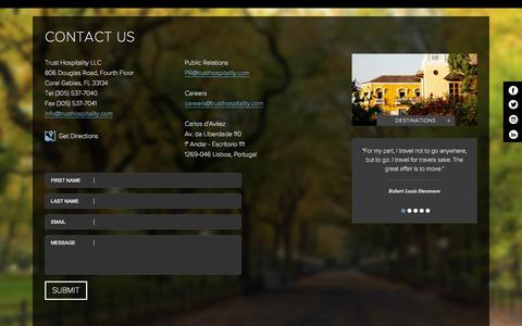 Screenshot of Contact Page trusthospitality.com - Hotels on Ocean Drive Miami Beach | Lord Balfour Miami Contact Us - captured Nov. 5, 2014