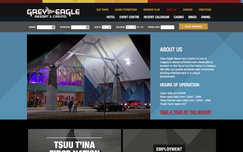 Screenshot of About Page greyeagleresortandcasino.ca - About Our Calgary Casino & Resort | Grey Eagle Casino - captured Sept. 23, 2017