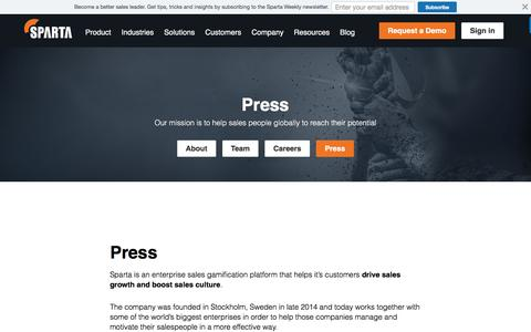 Screenshot of Press Page spartasales.com - Press - Sparta - captured Sept. 5, 2016