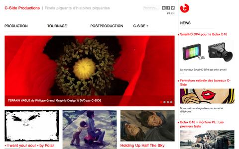 Screenshot of Home Page c-sideprod.ch - C-Side Productions | Tournage & Post-production de films | Genève - captured Oct. 1, 2014