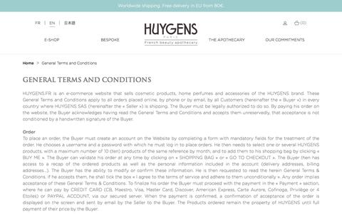 Screenshot of Terms Page huygens.fr - General Terms and Conditions - captured Sept. 26, 2018