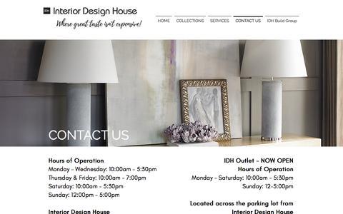 Screenshot of Contact Page interiordesignhouse.com - Interior Design House | Hours & Contact Information - captured Sept. 19, 2018
