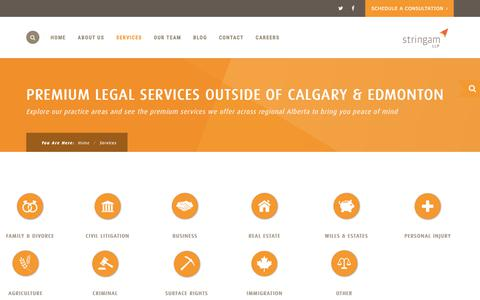 Screenshot of Services Page stringam.ca - Services - Stringam LLP. - captured Oct. 20, 2018