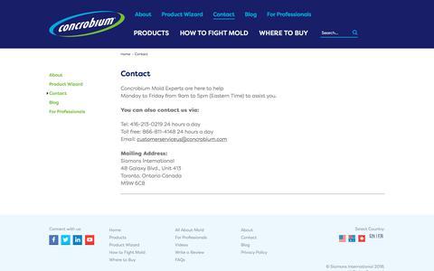 Screenshot of Contact Page concrobium.com - Contact - Concrobium - captured Sept. 22, 2018