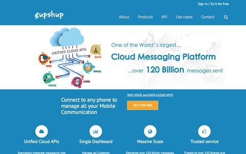 Screenshot of Home Page gupshup.me - GupShup - Cloud Messaging Platform | Mobile Marketing - captured Oct. 1, 2015