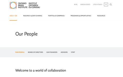 Screenshot of Team Page braininstitute.ca - Our People | Ontario Brain Institute - captured Nov. 13, 2017