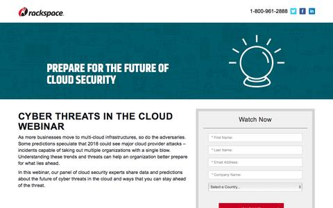 Screenshot of Landing Page rackspace.com - Cyber Threats in the Cloud Webinar - captured Sept. 22, 2018