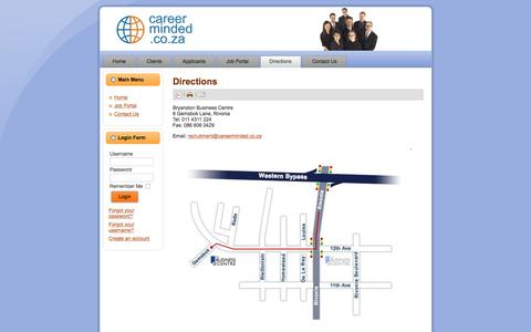 Screenshot of Maps & Directions Page careerminded.co.za - Directions - captured Dec. 7, 2015