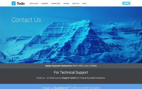 Screenshot of Contact Page appigo.com - Contact Appigo for Todo and Todo Cloud Support & Help - captured Dec. 9, 2018
