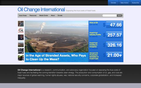 Screenshot of Home Page priceofoil.org - The Price of Oil - Oil Change InternationalOil Change International - captured July 25, 2017