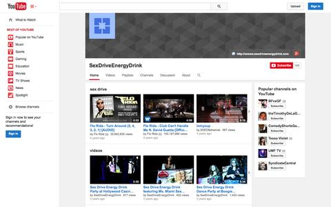 Screenshot of YouTube Page youtube.com - SexDriveEnergyDrink  - YouTube - captured Oct. 25, 2014