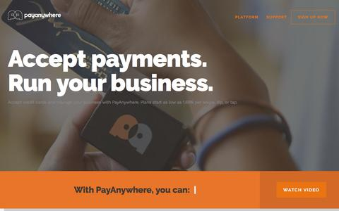 Screenshot of Home Page payanywhere.com - PayAnywhere     ›     Welcome - captured April 15, 2018