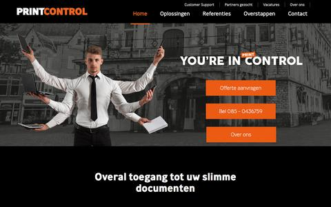 Screenshot of Home Page printcontrol.nl - PrintControl | Overal toegang tot uw slimme documenten - captured July 21, 2018