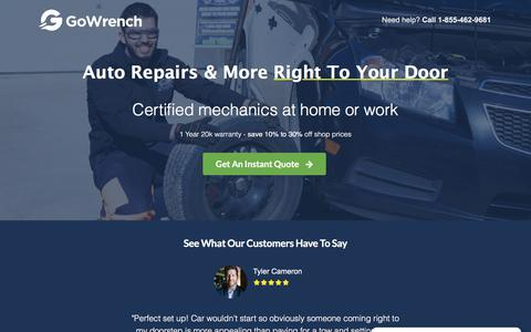 Screenshot of Home Page gowrenchauto.com - Auto Repair at Home or Work By Certified Mechanics - GoWrench Auto - captured July 20, 2018