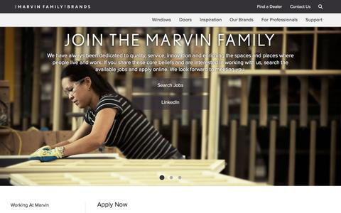 Screenshot of Jobs Page marvin.com - Internships with Marvin | Marvin Family of Brands - captured Sept. 29, 2017