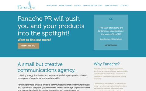 Screenshot of Home Page panachepr.com - Panache - Public Relations - captured Jan. 17, 2015