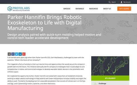 Screenshot of Case Studies Page protolabs.com - Parker Hannifin Brings Exoskeleton to Life | Case Study - captured Oct. 3, 2018