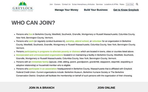 Screenshot of Signup Page greylock.org - Who Can Join? - Greylock Federal Credit Union - captured Sept. 23, 2018