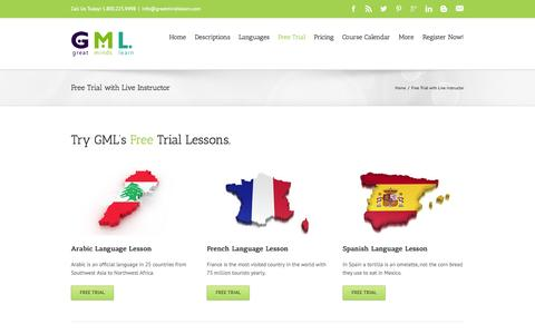Screenshot of Trial Page greatmindslearn.com - Language Lesson Free Trial with live instructor - Great Minds Learn - captured Sept. 30, 2014