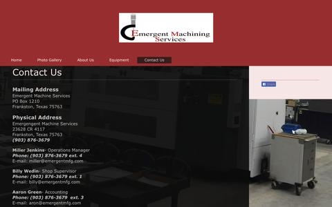 Screenshot of Contact Page emergentmfg.com - Emergent Manufacturing Systems - Contact Us - captured Sept. 28, 2018